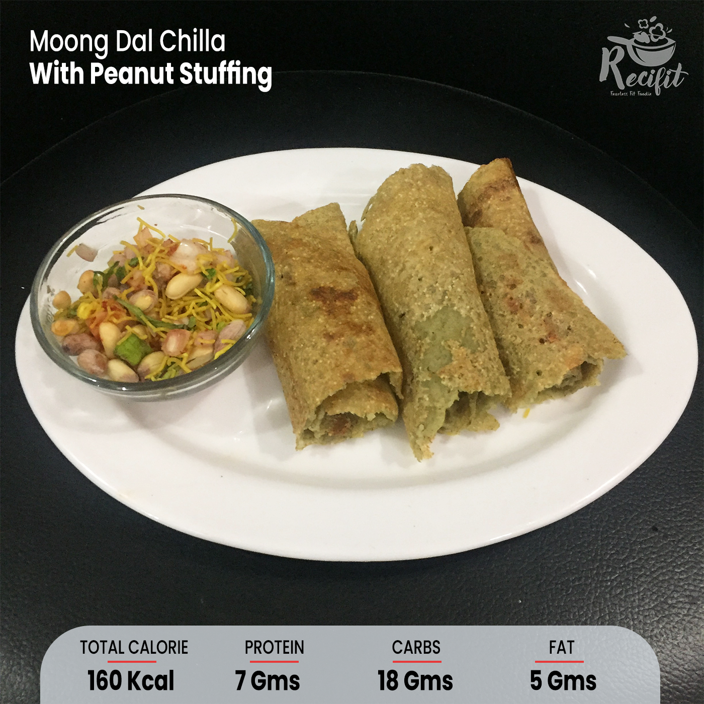 Moong Dal Chilla With Peanut Stuffing